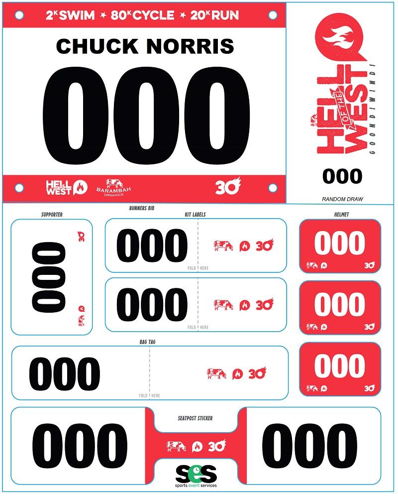 Triathlon Race Bib and Stickers